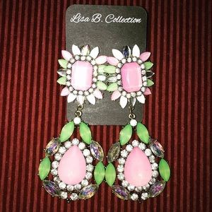 Beautiful pink, green, and silver earrings!